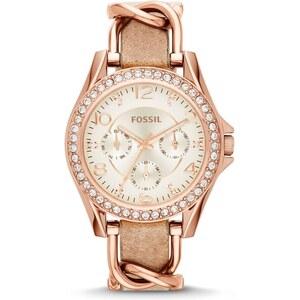 Fossil Armbanduhr - Riley Watch Rosegold Sand Strap - in rosa - Armbanduhr für Damen