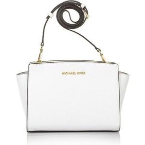 Michael Kors Tasche - Selma MD Messenger Optic White - in weiß aus Saffianoleder - Henkeltasche für Damen
