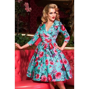 Pinup Couture 50s Birdie Floral Dress in Turquoise and Pink