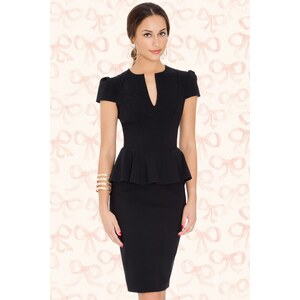 Vintage Chic 50s Carry Peplum Dress in Black