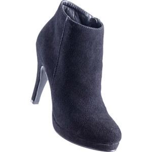 Lederstiefelette mit 9 cm High-Heel in schwarz von bonprix