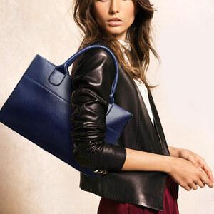 Lesara Echtleder-Shopper - Blau
