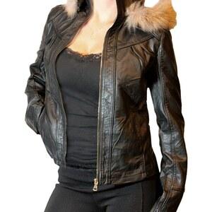 Lesara Damen-Kunstleder-Jacke Damen mit Kapuze - Schwarz - XL