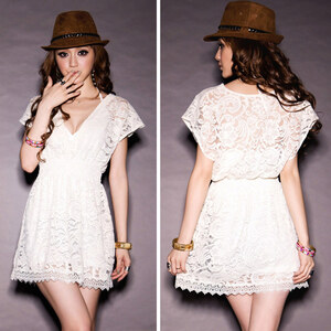 Lesara Damen-Kleid aus Spitze - Weiß - S