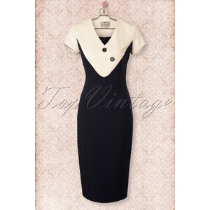 Collectif Clothing 40s Jenna Pencil Dress in Navy and Cream