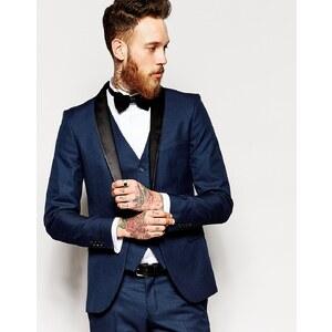 Selected Homme - Smoking-Jacke mit Schalkragen in enger Passform - Marineblau