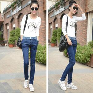 Lesara Damen-Jeans mit gestreiftem Bund - 29