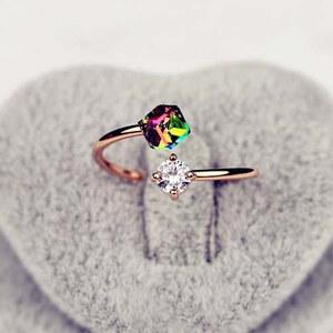 Lesara Damen-Ring mit 2 Zirkonia-Steinen