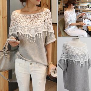 Lesara Damen-Oversize-Shirt mit Spitze - Grau - S