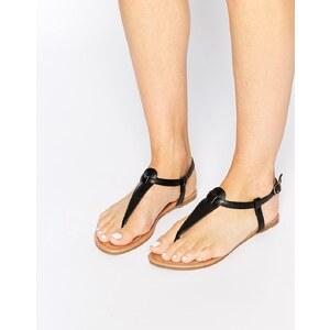 Daisy Street - Flache Sandalen in Schwarz mit Zehensteg - Schwarz
