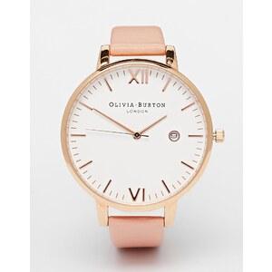 Olivia Burton - Timeless - Montre à bracelet en cuir rose et cadran oversize - Rose