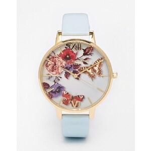 Olivia Burton - Enchanted Garden - Große Uhr mit Lederband und geblümtem Zifferblatt - Blau