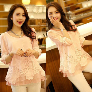 Lesara Damen-Shirt mit Spitze - Pink - S