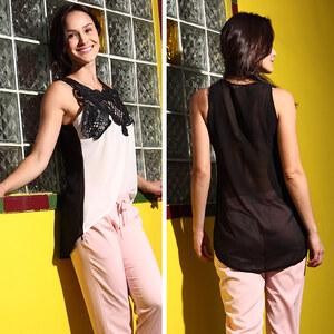 Lesara Chiffon-Bluse mit Spitze - Weiß-Schwarz - XXS