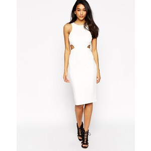 ASOS - Hochgeschlossenes Kleid mit Zierausschnitten - Elfenbein 27,99 €