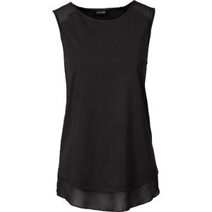 BODYFLIRT Shirttop mit Chiffoneinsatz ohne Ärmel in schwarz für Damen von bonprix