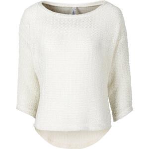 RAINBOW Pullover, boxy 3/4 Arm in weiß für Damen von bonprix