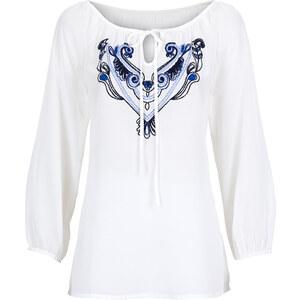 BODYFLIRT Bluse 7/8 Arm in weiß (V-Ausschnitt) von bonprix