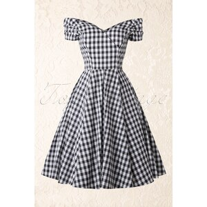 The Pretty Dress Company 50s Fatale Gingham Swing Dress in Black and White
