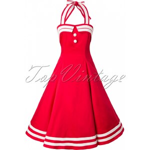 Collectif Clothing 50s Sindy Doll Sailor red swing dress