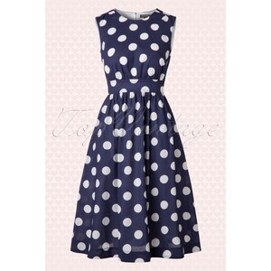 Emily and Fin 50s Lucy Long Polkadot Dress in Navy