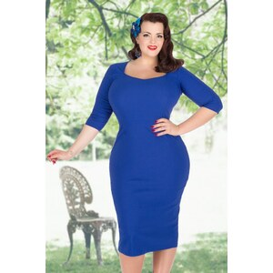 Lady Voluptuous by Lady Vintage 50s Medusa Pencil Dress in Royal Blue