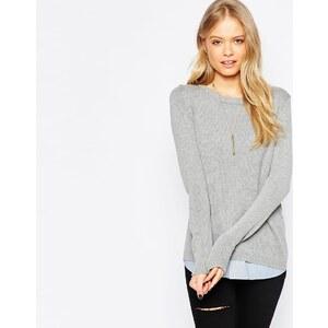 ASOS - Pullover mit Rundhalsausschnitt und gewebtem Saum - Grau