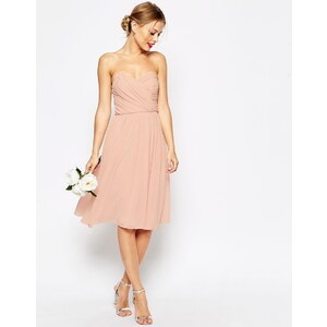 ASOS WEDDING - Robe mi-longue bandeau en mousseline - Bleu marine