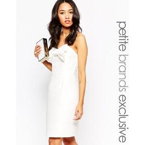 True Decadence Petite - Figurbetontes Kleid im Bandeau-Stil mit Zierschleife - Weiß