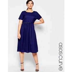ASOS CURVE - Kleid mit Häkelborte - Marineblau