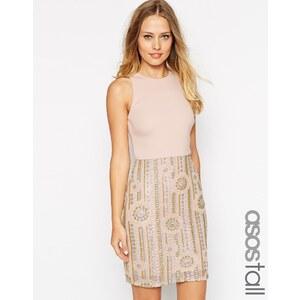 ASOS TALL - Iridescent - Hautenges, paillettenbesetztes Kleid - Nude