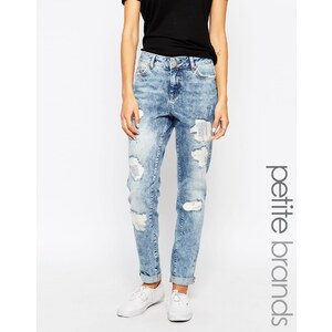 Noisy May - Petite - Boyfriend-Jeans in Destroyed-Optik - Blau