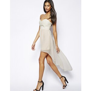 Rare – Kleid mit PU-Bustier und nach hinten abfallendem Saum