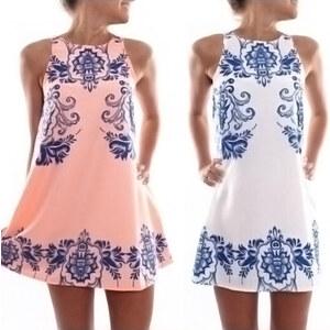 Lesara Damen-Kleid mit blauen Ornamenten - Rosé - L