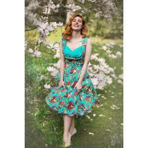 Lindy Bop 50s Ophelia Floral Spring Garden Party Dress