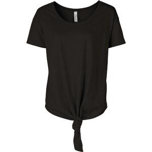 RAINBOW T-shirt noué noir manches courtes femme - bonprix