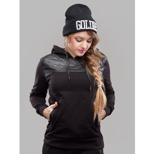 Urban Classics Ladies Leather Imitation Shoulder Hoody Black TB796