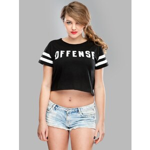K1X Wmns Offense Crop Tee Black White