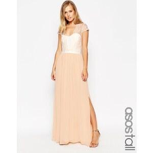 ASOS TALL - Maxi robe en dentelle festonnée - Crème