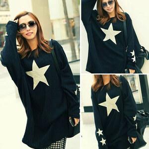 Lesara Oversize-Sweatshirt mit Stern-Motiv - M