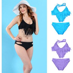 Lesara Bikini im Fransen-Look - Violett - S