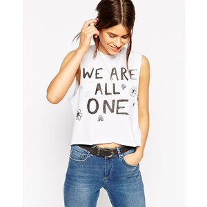 ASOS Cropped Tank with We Are One Print - White