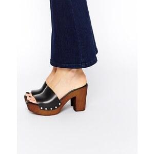 ASOS - HOMEBOUND - Leder-Pantoffeln im Stil der 70er - Schwarz