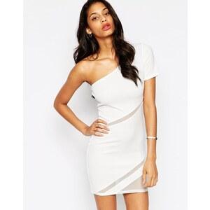 ASOS - Figurbetontes One-Shoulder-Kleid aus Netzstoff - Weiß