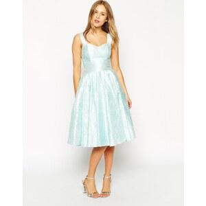 ASOS SALON - Elegantes Kleid mit Jacquard-Blumen und charmantem Ausschnitt - Grün