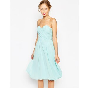 ASOS WEDDING - Robe mi-longue bandeau en mousseline - Rose