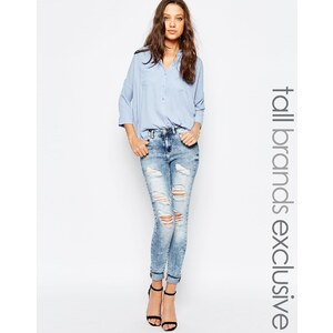 Noisy May Tall - Lucy - Jeans im Used-Look - Blau