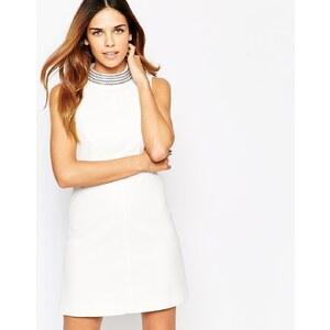 Warehouse - Kleid im Stil der 60er mit verziertem Kragen - Weiß