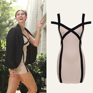 Lesara Kleid mit Kontrast-Details - Nude - XL
