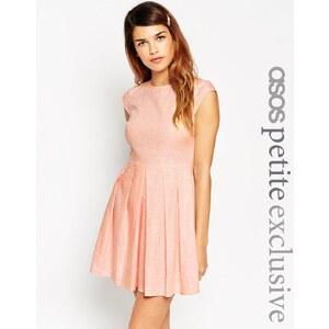 ASOS PETITE - Kurzärmliges Leinen-Kleid in Chambray